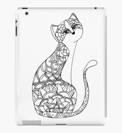 Patterned Cat Ink Drawing iPad Case/Skin