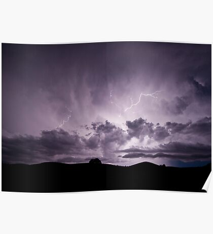 Electrical storm at Wilpena Pound Poster