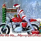 Brrrr - Holiday Card Sexy Lady On Motorbike by Moonlake