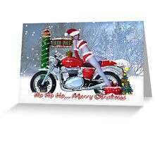 Brrrr - Holiday Card Sexy Lady On Motorbike Greeting Card