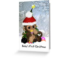 Baby's First Christmas Card Cute Monkey Greeting Card