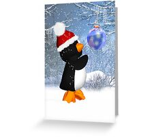 Cute Penguin Christmas / Holiday Card Greeting Card