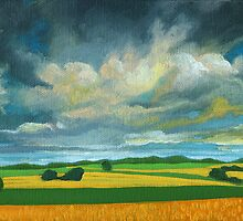 Cornfields - contemporary landscape oil painting by LindaAppleArt