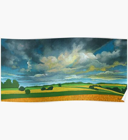 Cornfields - contemporary landscape oil painting Poster