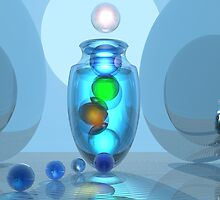 Blue Fandango with Marbles Still Life by Sazzart