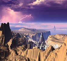 Lightning Storm over Pyramid Cities by SpinningAngel