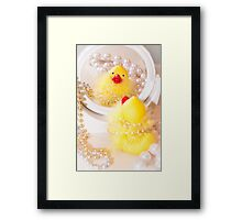 """Looking Ducky"" - rubber ducky dresses up Framed Print"