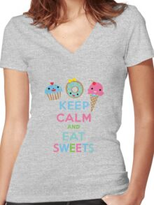 Keep Calm and Eat Sweets 2 Women's Fitted V-Neck T-Shirt