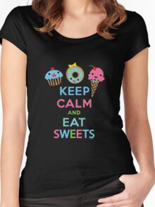 Keep Calm and Eat Sweets      Women's Fitted Scoop T-Shirt