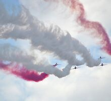 Red Arrows Over Lyme, Dorset Uk -1 by lynn carter