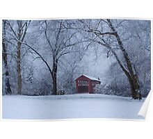 Snow Adorns The John Burrows Covered Bridge Poster