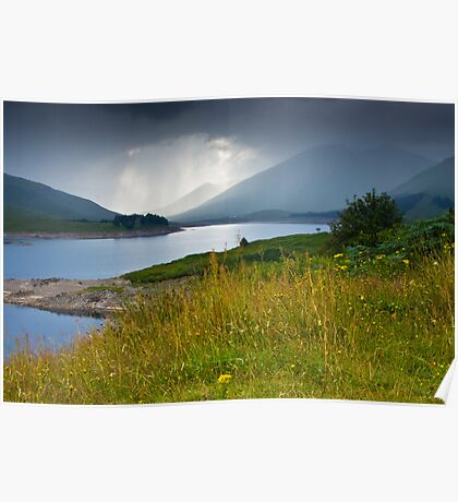Scottish landscape with grey clouds Poster