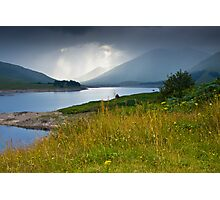 Scottish landscape with grey clouds Photographic Print