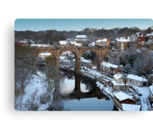 winter morning over the river Canvas Print