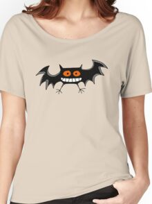 Funny black Halloween bat cartoon Women's Relaxed Fit T-Shirt