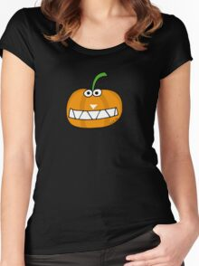 Cute Happy Halloween orange pumpkin Women's Fitted Scoop T-Shirt