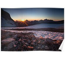 The sun sets over another perfect day in the Alps Poster