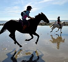 Joyful Horses At Charmouth Beach, Dorset UK by lynn carter