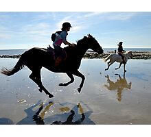 Joyful Horses At Charmouth Beach, Dorset UK Photographic Print