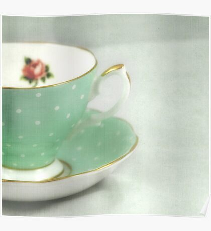 Apple green teacup Poster