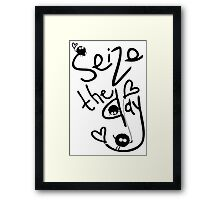 Seize the day typography Framed Print