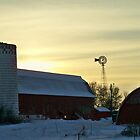 Winter Barn Windmill Sunset ~ SHAKOPEE,MN by kodakcameragirl