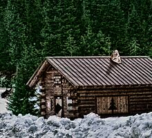 Winter Cabin by Jeannie Peters