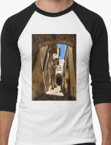 Sharp Shadows Passageway - Old Town Noto, Sicily, Italy Men's Baseball ¾ T-Shirt