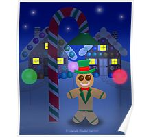 Gingerbread Man With Top Hat Under Candy Lamp Poster