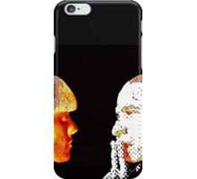 Girl and Obama mask, handcrafted dots image, mixed media, pop-art iPhone Case/Skin