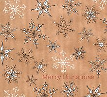 Snowflakes on kraft by lizblackdowding
