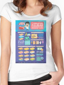 Singapore icecream sandwiches infographic design Women's Fitted Scoop T-Shirt