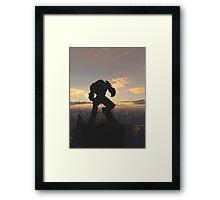 Future City - Robot Sentinel at Sunset Framed Print