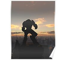 Future City - Robot Sentinel at Sunset Poster