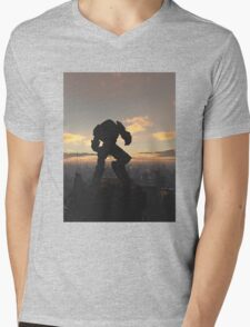 Future City - Robot Sentinel at Sunset Mens V-Neck T-Shirt