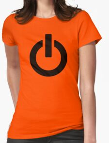 Power Button (black) Womens Fitted T-Shirt