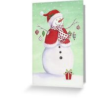 Cute snowman with ornaments Greeting Card