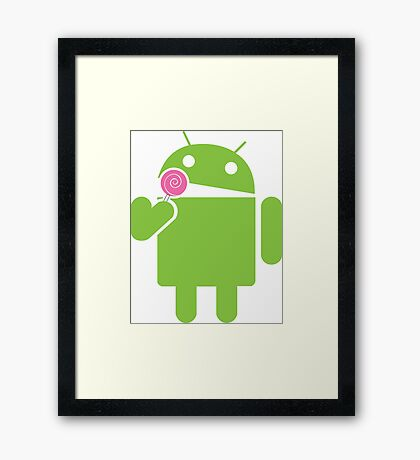 Android eats a lollipop Framed Print