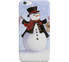 Aristocratic snowman in top hat with cardinal iPhone Case/Skin