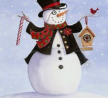 Aristocratic snowman in top hat with cardinal by lizblackdowding