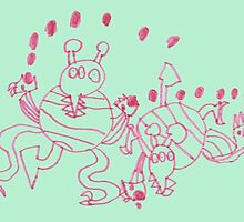 Pink juggling monsters by lizblackdowding