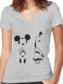 Mickey and Friends Women's Fitted V-Neck T-Shirt