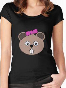 Cartoon Girl Beaver Face Women's Fitted Scoop T-Shirt