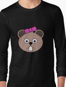 Cartoon Girl Beaver Face Long Sleeve T-Shirt