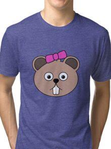 Cartoon Girl Beaver Face Tri-blend T-Shirt
