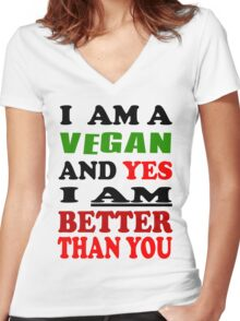 Vegan Tee Women's Fitted V-Neck T-Shirt