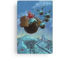 christmas pudding santa ride Canvas Print