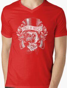 Pugs N Roses Mens V-Neck T-Shirt