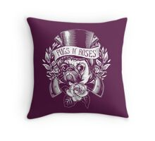 Pugs N Roses Throw Pillow