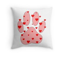 Pink Paw With Red Hearts Throw Pillow